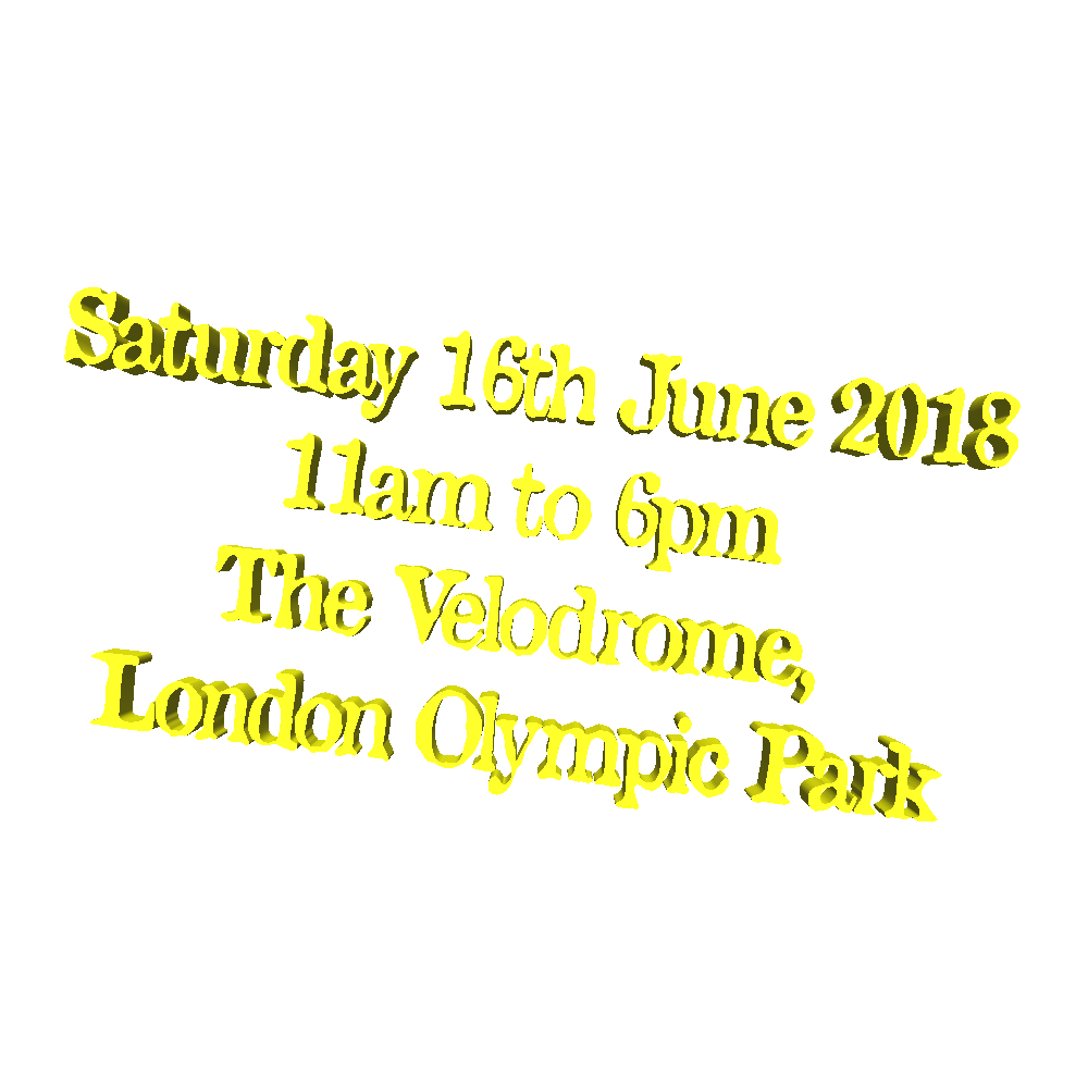 Saturday 16th June 2018, 11am to 6pm, The Velodrome, London Olympic Park